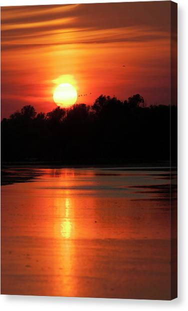 Flooding Canvas Print - Channels And Lakes During Sunset by Martin Zwick