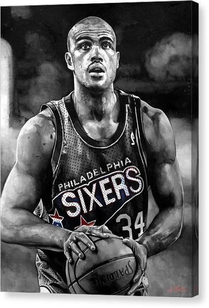 Philadelphia Sixers Canvas Print - Charles Barkley by Michael  Pattison
