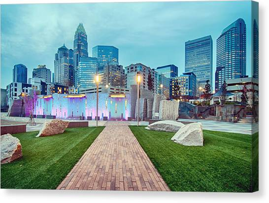 Charlotte City Skyline In The Evening Canvas Print