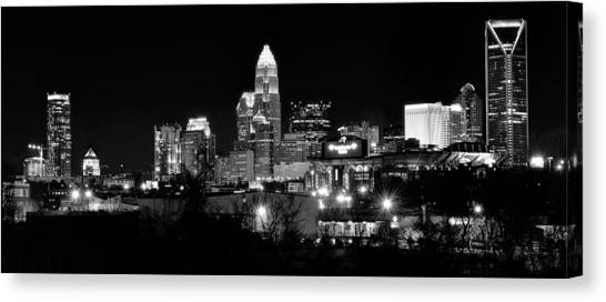 Charlotte Bobcats Canvas Print - Charlotte Panoramic In Black And White by Frozen in Time Fine Art Photography