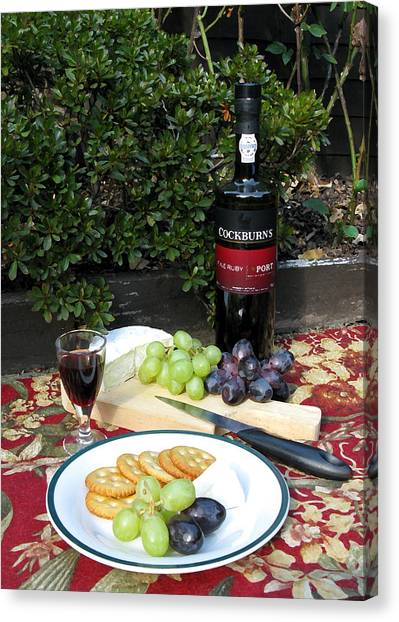 Canvas Print featuring the digital art Cheese And Port by Helene U Taylor