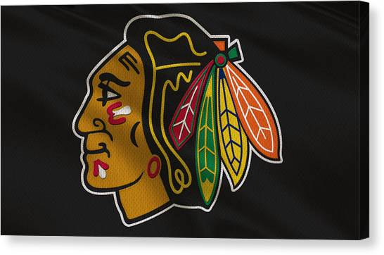Hockey Players Canvas Print - Chicago Blackhawks Uniform by Joe Hamilton