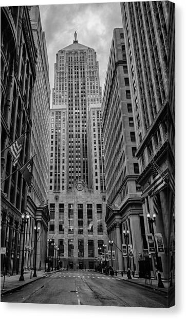 Chicago Skyline Art Canvas Print - Chicago Board Of Trade by Mike Burgquist