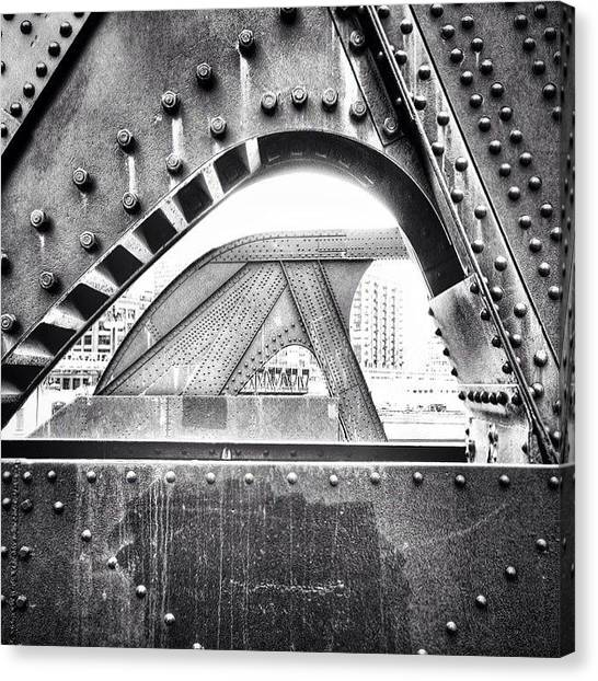 White Canvas Print - Chicago Bridge In Black And White by Paul Velgos
