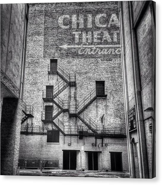 Black And White Canvas Print - Chicago Theatre Alley Entrance Photo by Paul Velgos