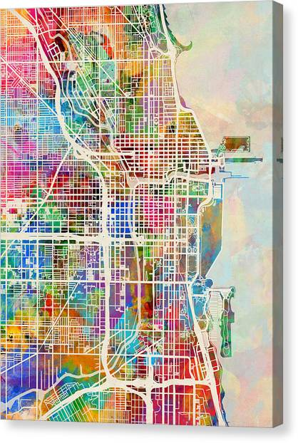 Map Canvas Print - Chicago City Street Map by Michael Tompsett