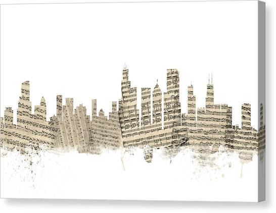 Chicago Skyline Canvas Print - Chicago Illinois Skyline Sheet Music Cityscape by Michael Tompsett