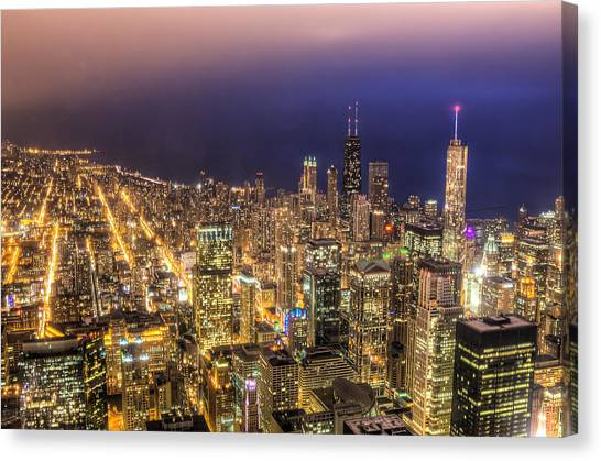 Chicago Skyline At Night - Hancock And Trump Canvas Print by Michael  Bennett