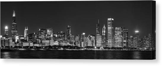 Hancock Building Canvas Print - Chicago Skyline At Night Black And White Panoramic by Adam Romanowicz