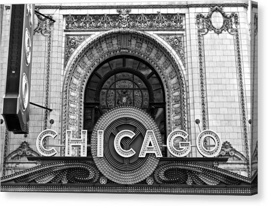 Chicago Skyline Art Canvas Print - Chicago Theater Marquee by Frozen in Time Fine Art Photography