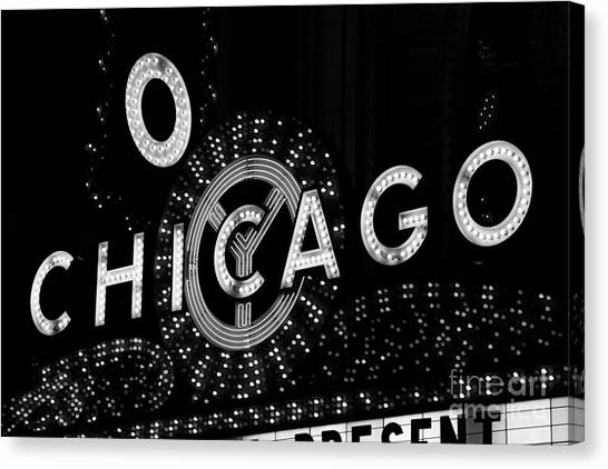 Chicago Black White Canvas Print - Chicago Theater Sign In Black And White by Paul Velgos