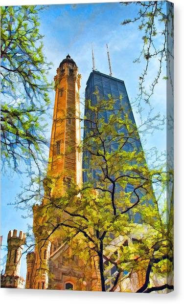 Chicago Water And Hancock Towers Canvas Print
