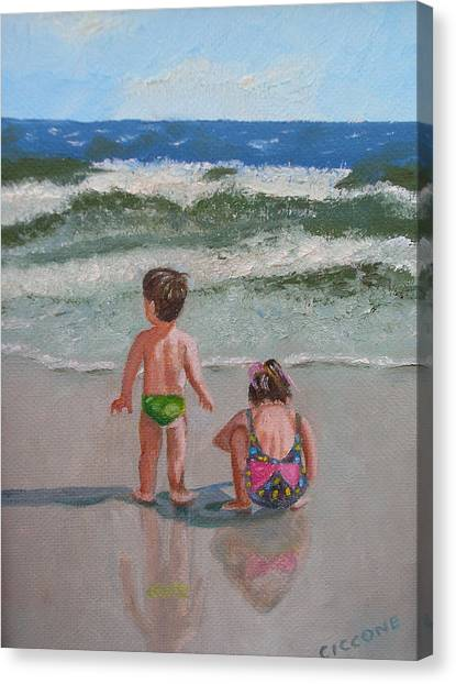 Children On The Beach Canvas Print