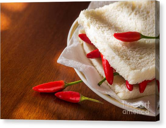 Sandwich Canvas Print - Chili Pepper Sandwich by Carlos Caetano