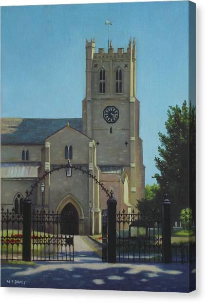 Church Yard Canvas Print - Christchurch Priory by Martin Davey