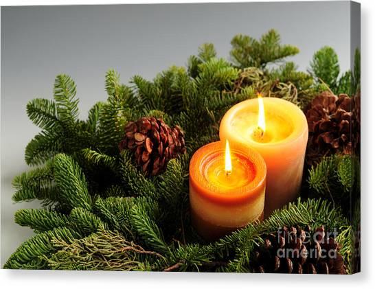 Pine Cones Canvas Print - Christmas Candles by Elena Elisseeva