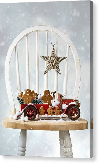 Snowball Canvas Print - Christmas Gingerbread by Amanda Elwell