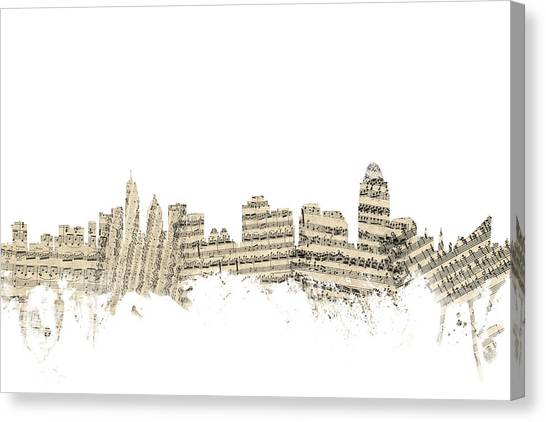 Sheet Music Canvas Print - Cincinnati Ohio Skyline Sheet Music Cityscape by Michael Tompsett