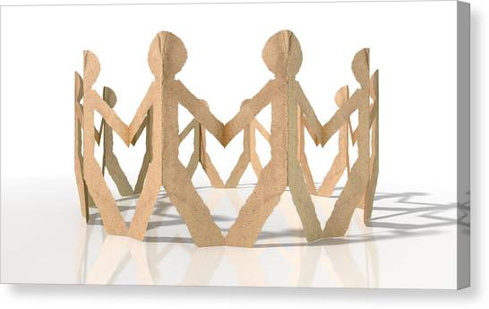 Racism Canvas Print - Circle Of Cutout Paper Cardboard Men by Allan Swart