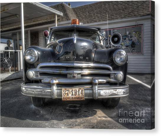 Historic Route 66 Canvas Print - Classic Car Along Route 66 by Twenty Two North Photography