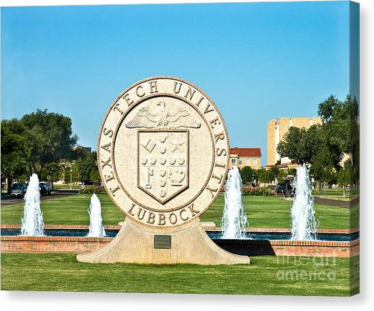 Canvas Print featuring the photograph Classical Image Of The Texas Tech University Seal  by Mae Wertz
