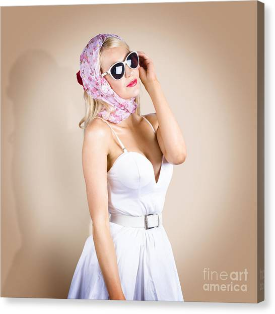 Daydream Canvas Print - Classical Pinup Girl Posing In Retro Fashion Style by Jorgo Photography - Wall Art Gallery