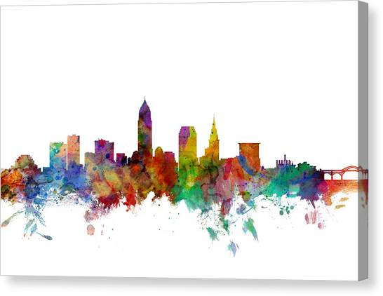 Usa Canvas Print - Cleveland Ohio Skyline by Michael Tompsett