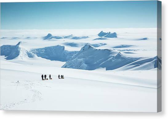 Antarctica Canvas Print - Climbers On Mt Vinson by Peter J. Raymond