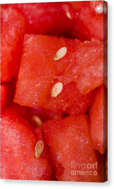 Watermelons Canvas Print - Close Detailed Macro On Chopped Watermelon by Jorgo Photography - Wall Art Gallery