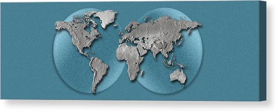 Three Dimensional Canvas Print - Close-up Of A World Map by Panoramic Images