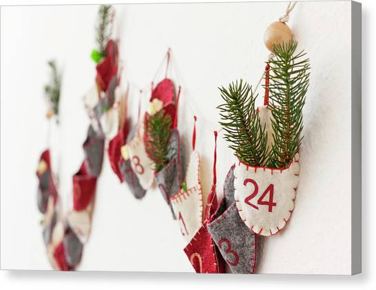 Close Up Of Advent Calendar On Wall Canvas Print