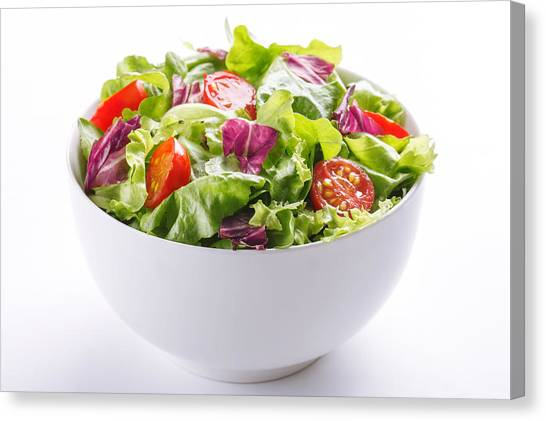 Close-up Of Fresh Salad In Bowl On White Background Canvas Print by Vesna Jovanovic / EyeEm