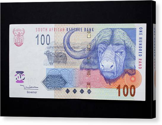 South Buffalo Canvas Print - Close-up Of South African Rand Paper by Jaynes Gallery