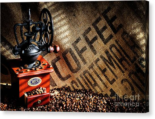 Coffee Beans And Grinder Canvas Print