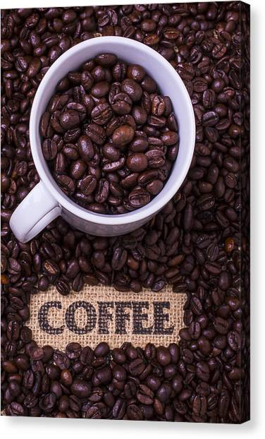 Coffee Beans Canvas Print - Coffee Cup With Beans by Garry Gay