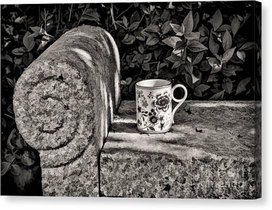 Coffee In Garden Canvas Print