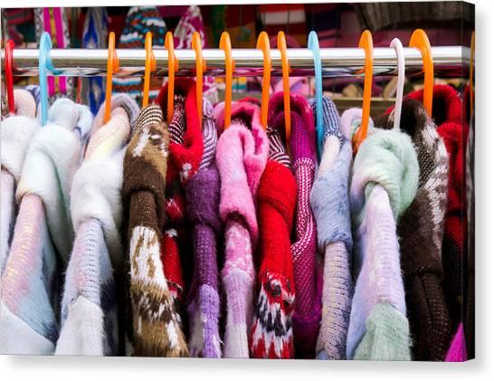 Coat Hanger Canvas Print - Colorful Coats by Tom Gowanlock