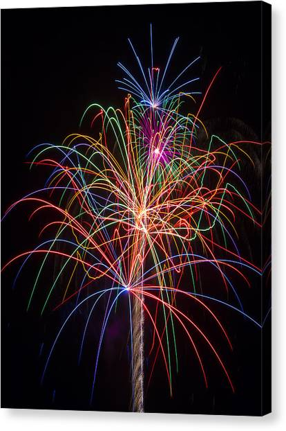Pyrotechnics Canvas Print - Colorful Fireworks by Garry Gay