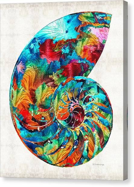 Florida House Canvas Print - Colorful Nautilus Shell By Sharon Cummings by Sharon Cummings