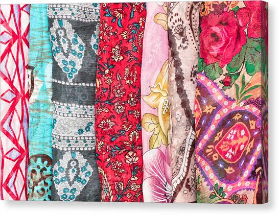 Selection Canvas Print - Colorful Scarves by Tom Gowanlock