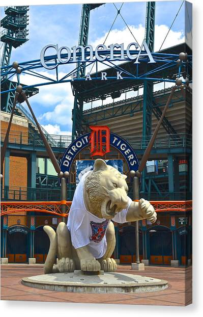 Ty Cobb Canvas Print - Comerica Park by Frozen in Time Fine Art Photography