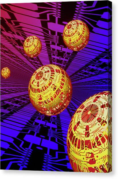 Computer Artwork Of Spheres Covered In Circuits Canvas Print by Mehau Kulyk/science Photo Library
