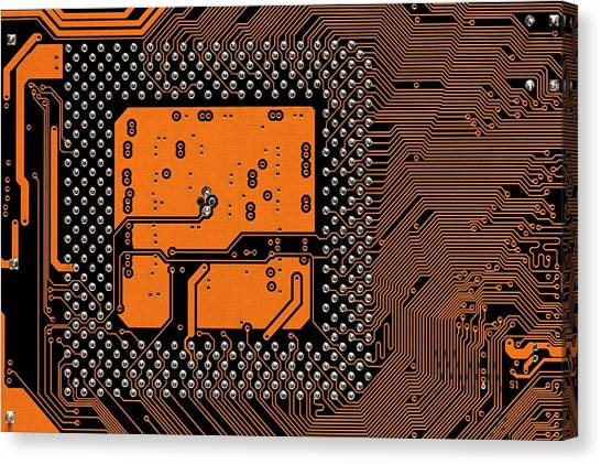 Computer Science Canvas Print - Computer Motherboard by Antonio Romero