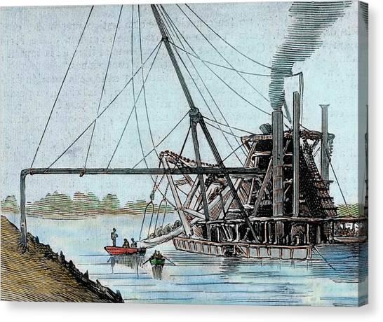 Rio Grande River Canvas Print - Construction Of The Panama Canal by Prisma Archivo