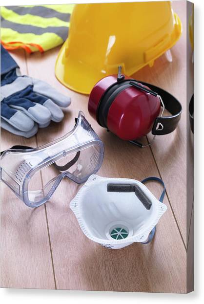 Hard Hat Canvas Print - Construction Safety Equipment by Tek Image