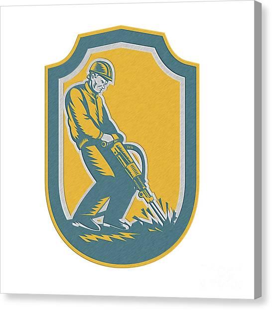 Jackhammers Canvas Print - Construction Worker Jackhammer Drill Shield Retro by Aloysius Patrimonio