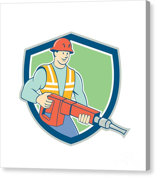 Jackhammers Canvas Print - Construction Worker Jackhammer Shield Cartoon by Aloysius Patrimonio