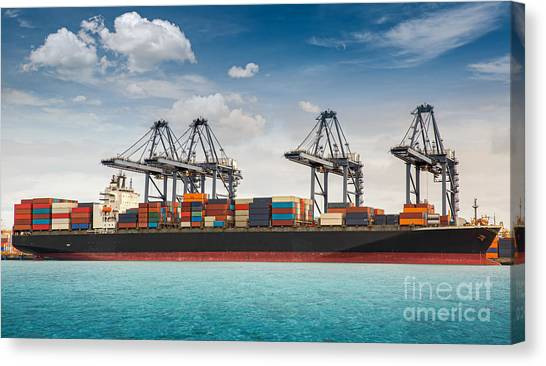 Container Ship Berthing Port Canvas Print