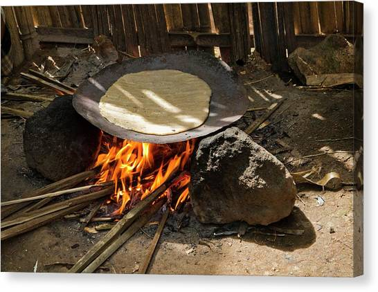 Ethiopian Woman Canvas Print - Cooking Bread From The Fruitless Banana by Photostock-israel