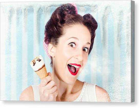 Bare Shoulder Canvas Print - Cool Pin-up Woman In Cold Freezer With Ice-cream by Jorgo Photography - Wall Art Gallery